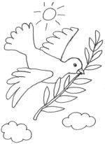 Szenen aus der Bibel: Kostenlose Malvorlage: Friedenssymbol: Taube mit Ölzweig zum Ausmalen
